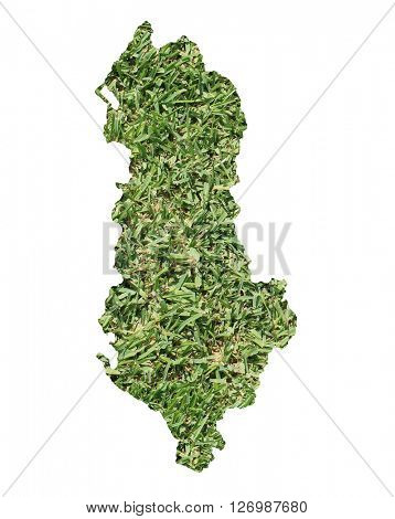 Map of Albania filled with green grass, environmental and ecological concept.