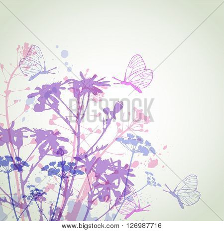 Abstract vector floral background with flowers and butterflies. Wildflowers and chamomiles. Silhouette of flowers.