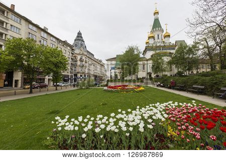 Sofia, Bulgaria - April 14, 2016 :beautiful View Of Colorful Russian St. Nicholas Church In The Cent