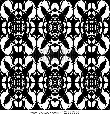 monochrome pattern vintage ethnic ornament on a black background