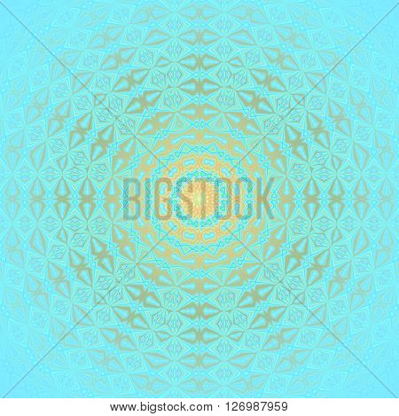 Abstract geometric seamless background. Shining concentric circle ornament with diamond pattern gold and silver gray and yellow elements on light blue, centered and blurred.