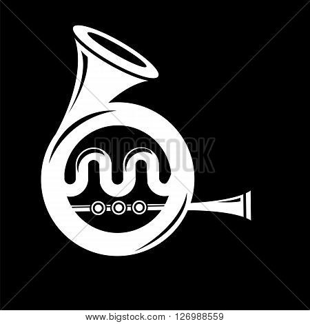 Musical French  Horn Icon Isolated on Black Background. French Horn Icon.  French Horn Icon Web Design. French Horn Icon Concept. French Horn Icon  Symbol.   French Horn Sign