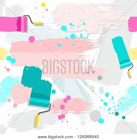 Pink and green spots and stripes on a white background. Traces of paint roller and brushes, blots and drops. Vector seamless background. Color, flat. Imitation texture paint.