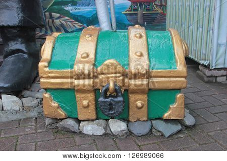 SOCHI RUSSIA - November 10 2015: The model of an old piracy chest in park Riviera. Sochi Russia