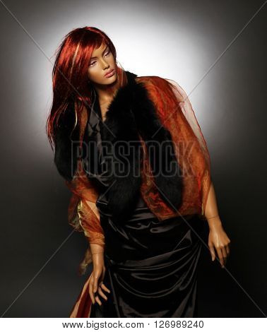 mannequin with red hair, studio shot