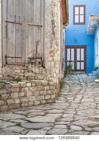 Traditional village pavement with stones from the village of Leukara in Cyprus
