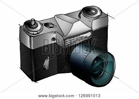 Digital photo camera. 3D icon isolated on white background. Hand drawn vector stock illustration