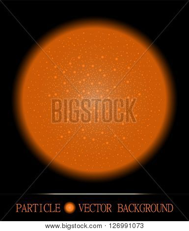 Abstract orange shpere of glowing light particles space black background. Atomic technology design. Background for presentations cards scientific and jewelry design. Vector illustration