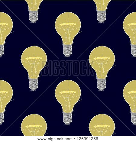Lightbulb seamless background pattern. Hand drawn vector stock illustration