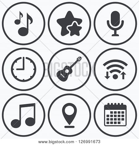 Clock, wifi and stars icons. Music icons. Microphone karaoke symbol. Music notes and acoustic guitar signs. Calendar symbol.