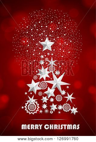 Christmas and New Year abstract with Christmas Tree made of stars and snowflakes with firework on red ambient blurred background. Vector illustration