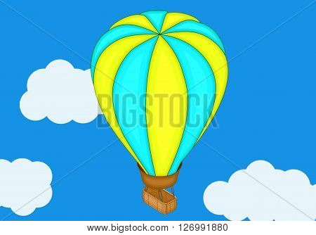 Aerostat baloon isometric flat vector 3d illustration. Flat design, Hot air balloon in the sky with cloud background. Vntage hot air balloon in the sky