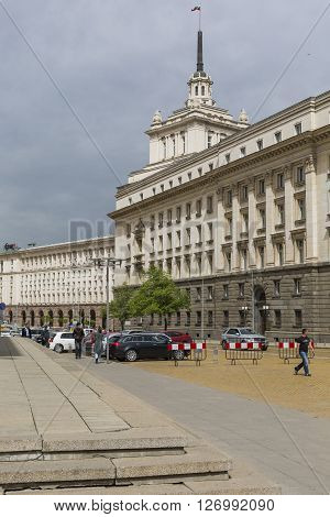 Sofia, Bulgaria - April 14: An Architectural Ensemble Of Three Socialist Classicism Edifices In Cent