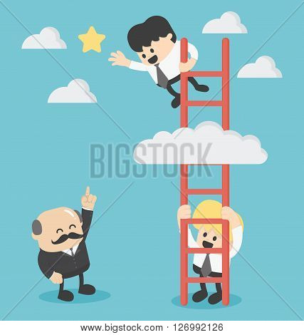 Businessman on a ladder grab the star