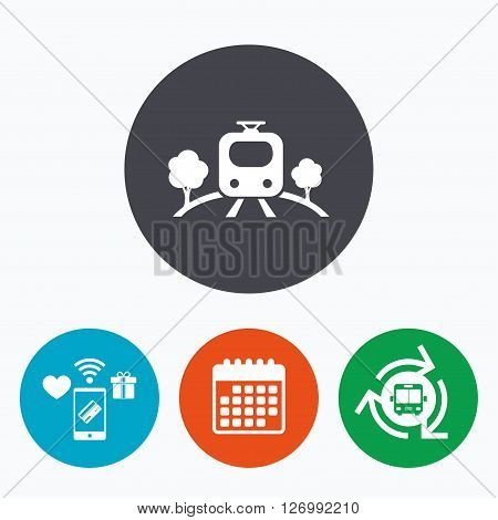Overground subway sign icon. Metro train symbol. Mobile payments, calendar and wifi icons. Bus shuttle.