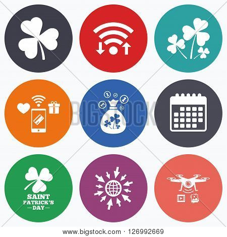 Wifi, mobile payments and drones icons. Saint Patrick day icons. Money bag with clover and coins sign. Trefoil shamrock clover. Symbol of good luck. Calendar symbol.