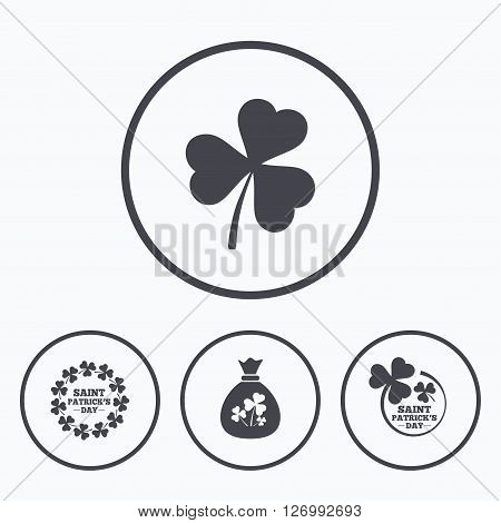 Saint Patrick day icons. Money bag with clover sign. Wreath of trefoil shamrock clovers. Symbol of good luck. Icons in circles.