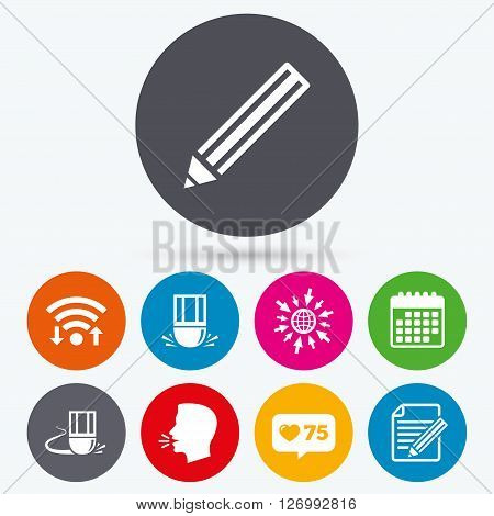 Wifi, like counter and calendar icons. Pencil icon. Edit document file. Eraser sign. Correct drawing symbol. Human talk, go to web.