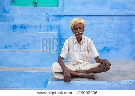 Jaisalmer, India - March 8, 2016: man posing in the street of Jaisalmer,India