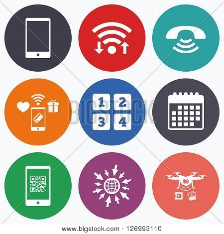 Wifi, mobile payments and drones icons. Phone icons. Smartphone with Qr code sign. Call center support symbol. Cellphone keyboard symbol. Calendar symbol.