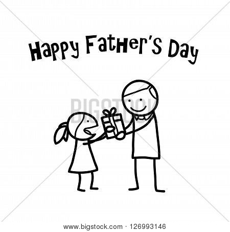 Happy Father's Day, a hand drawn vector doodle illustration of a little girl giving her father a present on Father's Day.
