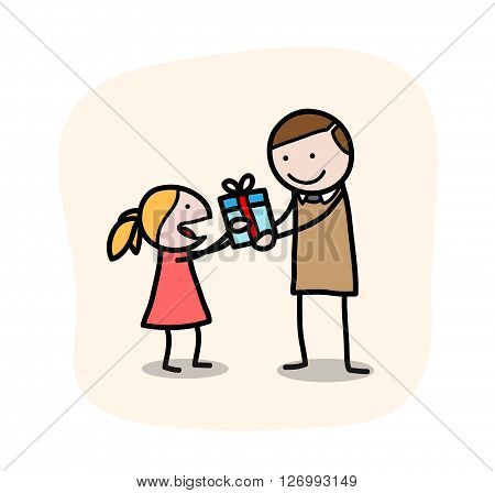 Father's Day, a hand drawn vector doodle illustration of a little girl giving her father a present on Father's Day, isolated on a simple background (editable).