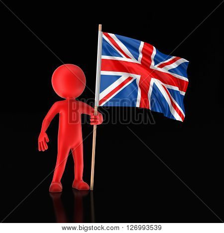 Man and United Kingdom flag. Image with clipping path, 3d illustration