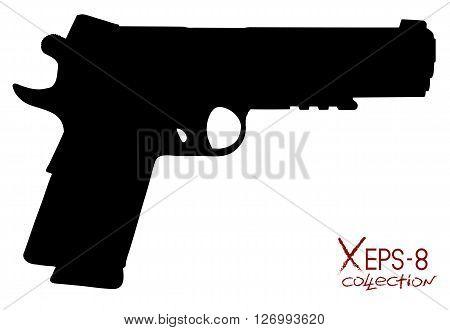 Modern black pistol silhouette isolated on white. Vector oillustration