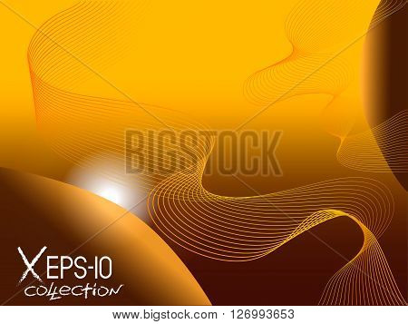 Modern Planetary Abstract Gold Background With Helix Spiral Lines And Sun. Vector Illustration