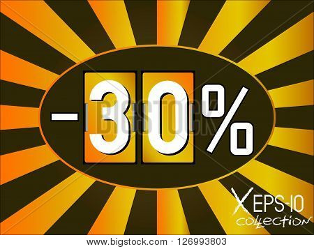 Screensaver sign sales or discounts. 30% sale coupon in shape of gold analog flip clock. Vector illustration