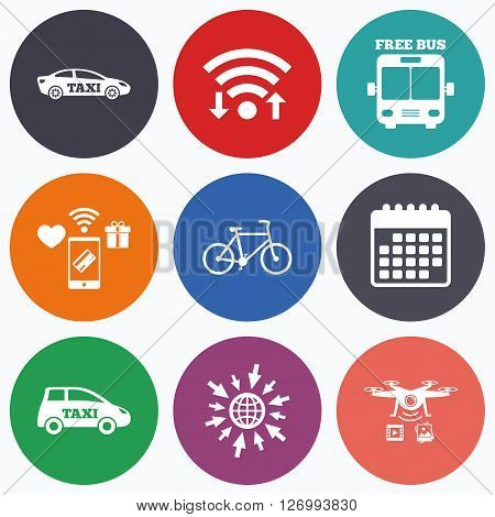 Wifi, mobile payments and drones icons. Public transport icons. Free bus, bicycle and taxi signs. Car transport symbol. Calendar symbol.