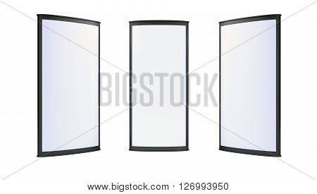 Advertising blank lightboxes on white background. 3d render