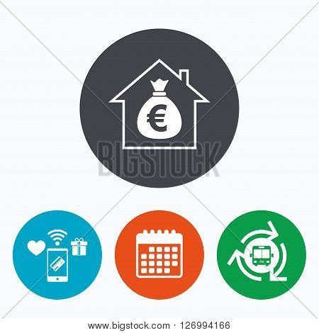 Mortgage sign icon. Real estate symbol. Bank loans. Mobile payments, calendar and wifi icons. Bus shuttle.