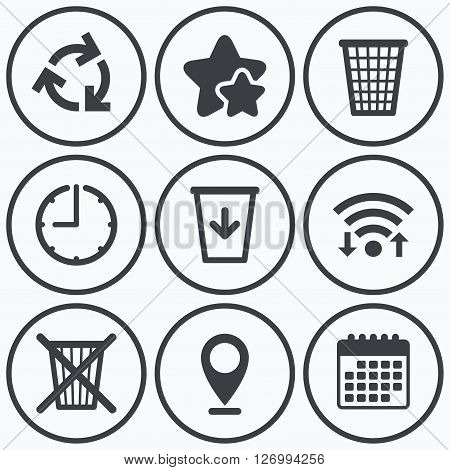 Clock, wifi and stars icons. Recycle bin icons. Reuse or reduce symbols. Trash can and recycling signs. Calendar symbol.