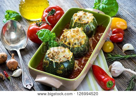 Round Zucchini Stuffed With Meat And  Mozzarella