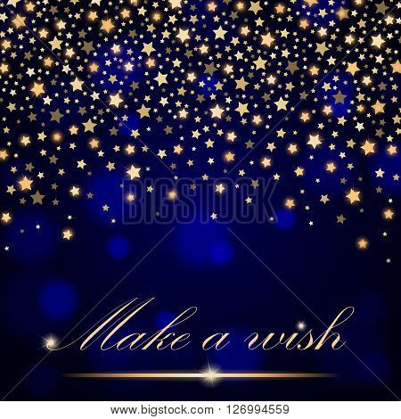 Vector Abstract Shining Falling Stars On Blue Ambient Blurred Background. Luxury Design. Vector Illu