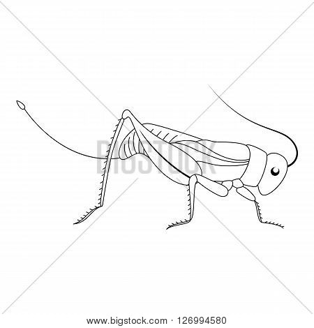 Cute white cartoon grasshopper. Beautiful vector illustration.