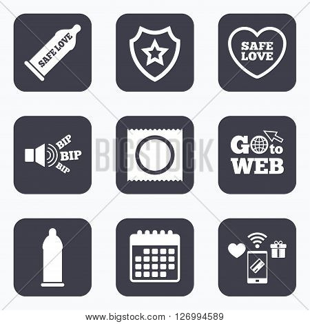 Mobile payments, wifi and calendar icons. Safe sex love icons. Condom in package symbol. Fertilization or insemination. Heart sign. Go to web symbol.