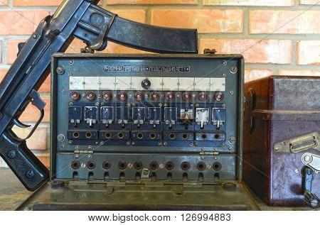 ILLUSTRATIVE EDITORIAL.Vintage Soviet military field telephone commutator .April 19,2016 Kiev, Ukraine