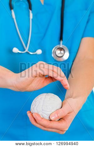 Young doctor holding a plastic brain in hands