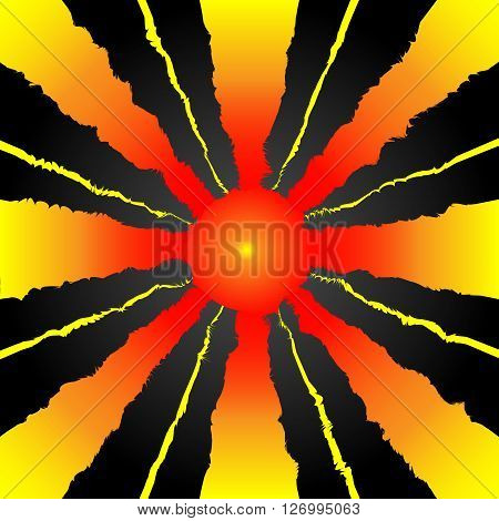Schematic Sun With Rays On Black Gradient Background Vector Illustration