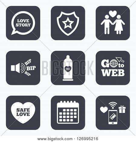 Mobile payments, wifi and calendar icons. Condom safe sex icons. Lovers couple signs. Male love female. Speech bubble with heart. Go to web symbol.