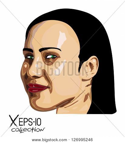Abstract Portrait of young brunette woman with green eyes. Vector illustration