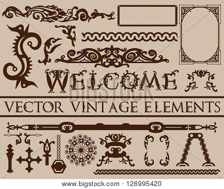 Detailed Brown Vintage Elements In Gothic Halloween Style On Beige Background: Font, Frames, Swirls,