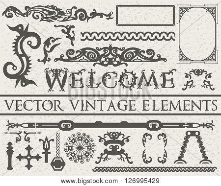 Detailed Vintage Elements In Gothic Style On Beige Vintage Textured Background: Font, Frames, Swirls