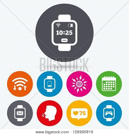 Wifi, like counter and calendar icons. Smart watch icons. Wrist digital time watch symbols. Mail, Game joystick and wi-fi signs. Human talk, go to web.