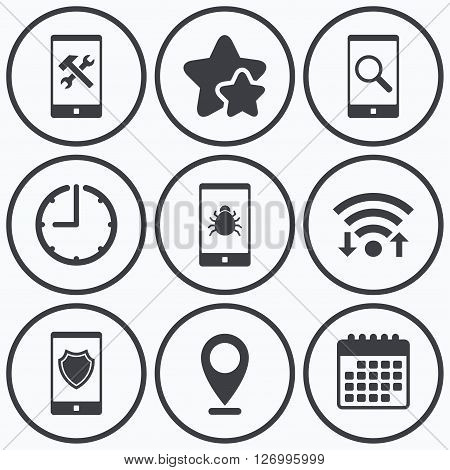 Clock, wifi and stars icons. Smartphone icons. Shield protection, repair, software bug signs. Search in phone. Hammer with wrench service symbol. Calendar symbol.