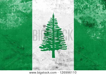 Flag Of Norfolk Island, With A Vintage And Old Look