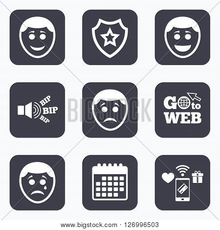 Mobile payments, wifi and calendar icons. Human smile face icons. Happy, sad, cry signs. Happy smiley chat symbol. Sadness depression and crying signs. Go to web symbol.