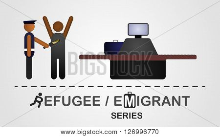 Inspector check a man at the border control. Illustration created on the grey background. Refugee emigrant series